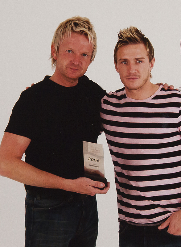 LIAM LAWERENCE FOOTBALLER SAFC PRESENTING DAVID WITH HIS AWARD