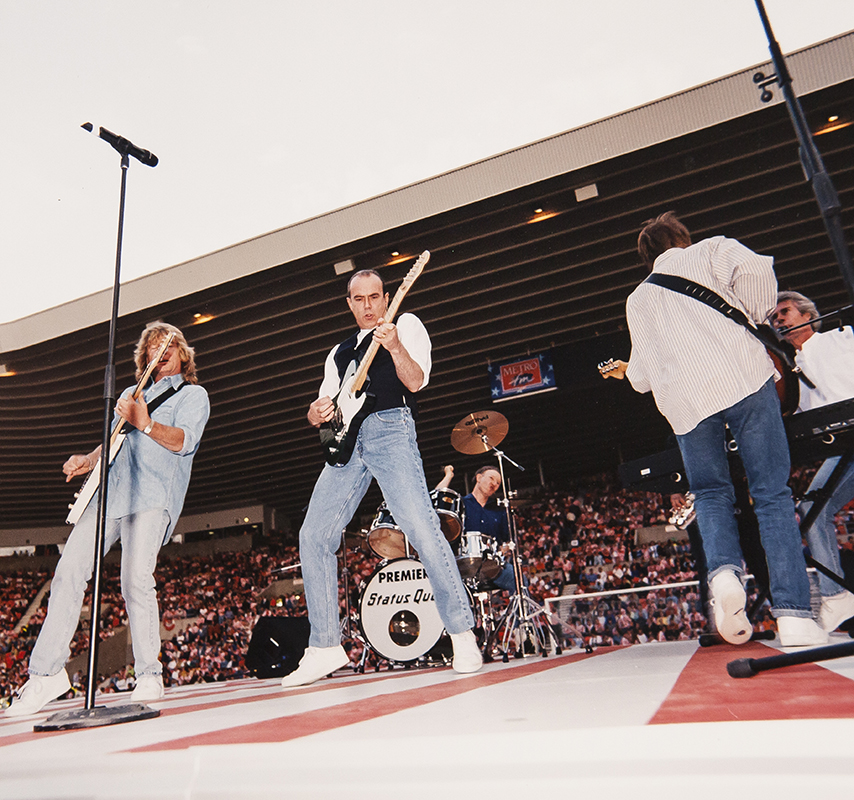 STATUS QUO – FLYS IN  TO OPEN THE STADIUM OF LIGHT – 49000 FANS LOVING IT