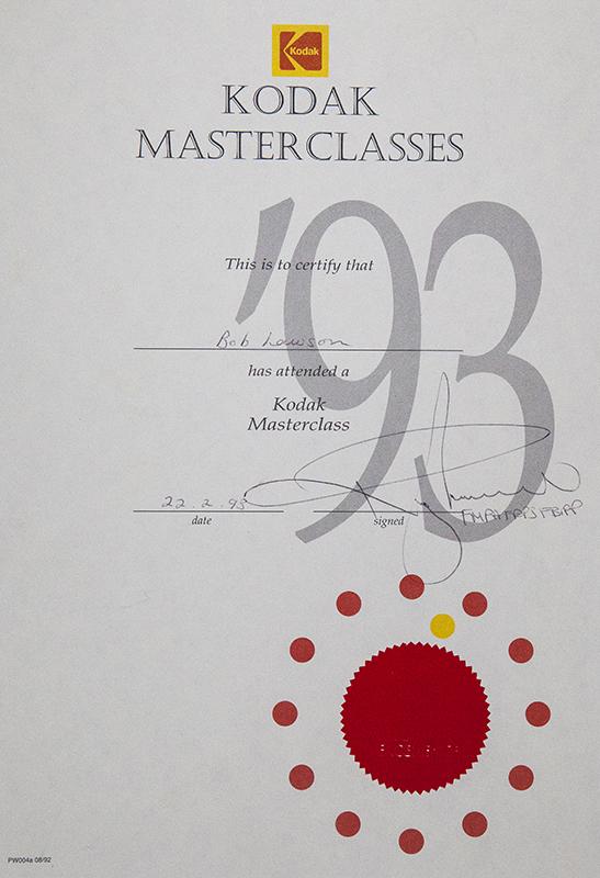 MASTER CLASS AWARD KODAK FILM COMPANY