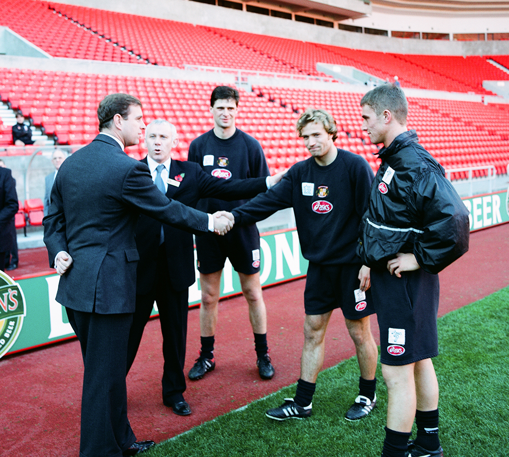 "H.R.H. PRINCE ANDREW MEETING THE PLAYERS ON THE PITCH  ""THE STADIUM OF LIGHT"" SAFC"